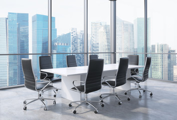 Panoramic conference room in modern office in Singapore. Black chairs and a white table. 3D rendering.
