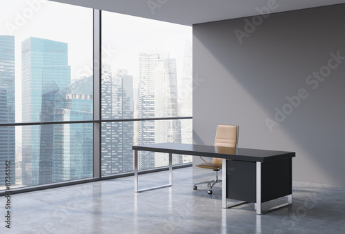 A workplace in a modern panoramic office, Singapore city view from