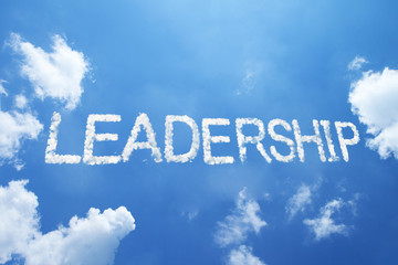 """leadership"" a clouds word on sky."