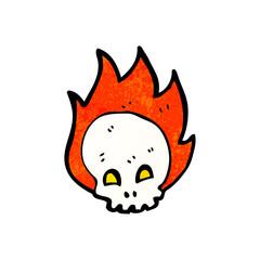 flaming skull cartoon symbol