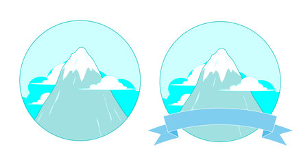 Snowy Mountain Logo, A vector illustration of a snowy mountain peak logo, available in 2 variations (with and without banner, editable).