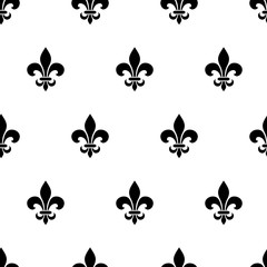 Fleur-de-lis black and white seamless pattern. Vector.