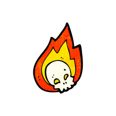 flaming skull cartoon