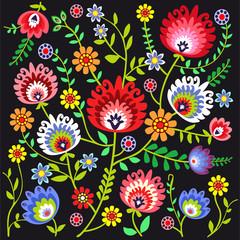 ludowy wzór kwiatowy - fototapety na wymiar