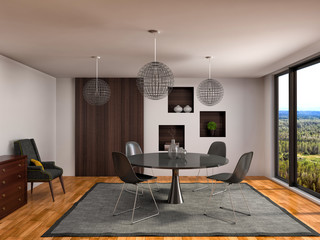 Interior with table. 3d illustration