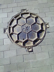 the round  iron  hatch like a soccer ball
