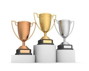 awards on winner podium