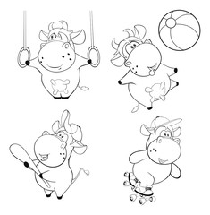 Happy cows. Clip-Art. Cartoon. Coloring book