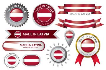 Made in Latvia Seal, Latvian Flag Background (Vector Art)