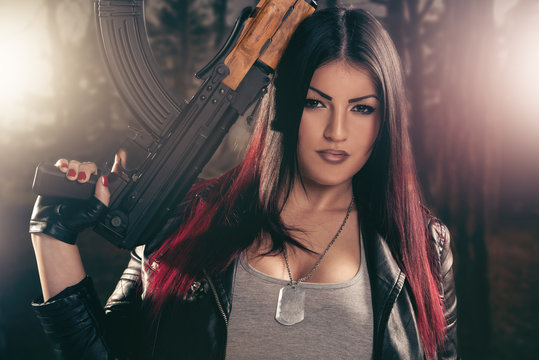 Attractive Girl Aiming