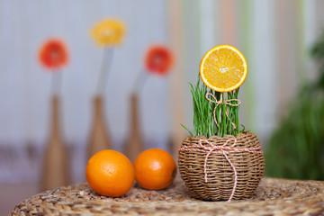 orange slice in a decorative basket