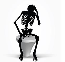 skeleton silhouette in thinking pose