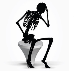 skeleton silhouette in thinking pose