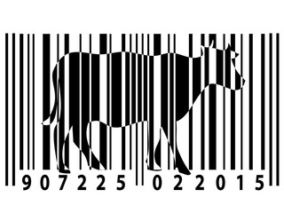 Animal rights barcode with cow silhouette
