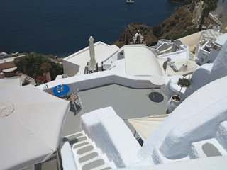 Santorini island Greece - beautiful typical house with white wal