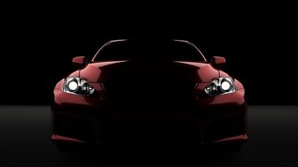 Computer generated image of a luxury sports car, studio setup, dark background.