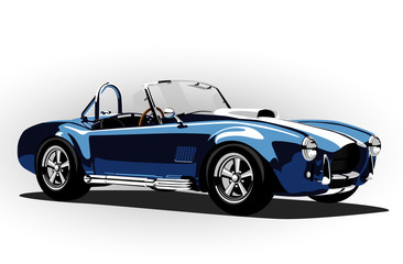 classic sport car cobra roadster blue