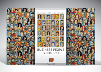 People business seamless pattern and icons set