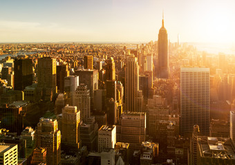 Fototapete - Manhattan Skyline bei Sonnenuntergang in New York