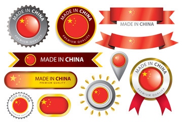 Made in China Seal, Chinese Flag (Vector Art)
