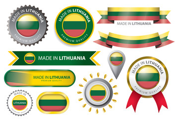 Made in Lithuania Seal, Lithuanian Flag (Vector Art)