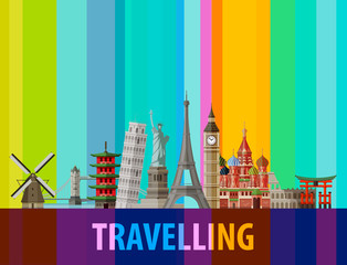 travel, journey vector logo design template. sights of the world