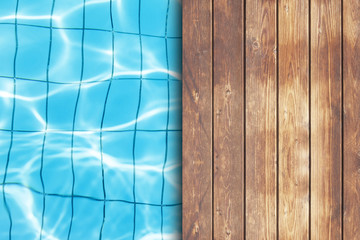 wooden deck on swimmung pool background