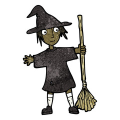 cartoon witch with broomstick