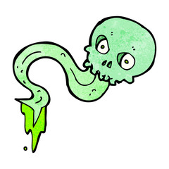 cartoon spooky green skull