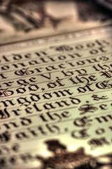Old English manuscript calligraphy. Manuscript written in old English calligraphy.