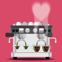 coffee machine and coffee cups