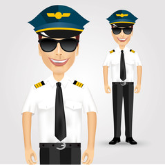 friendly pilot with sunglasses