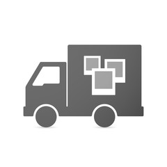 Isolated delivery truck icon with a few photos