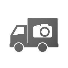 Isolated delivery truck icon with a photo camera