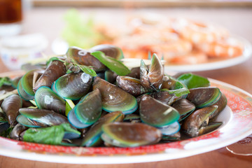Close up Steamed mussels