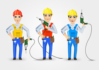 set of three technical, electrician or mechanic