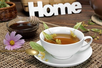 Home Tea Time Scene  With Lime Tree Blossom. Rustic Style