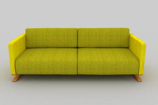 Isolated yellow light green sofa