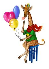 Жираф и воздушные шарики