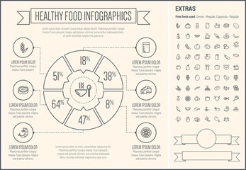 Healthy Food Line Design Infographic Template