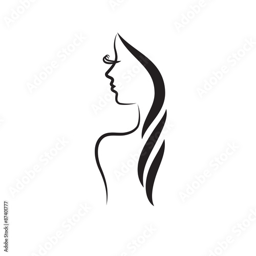 Beauty Logo Template Fashion Model Vector Illustration Card For Hair And Salon