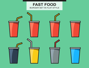 Set of fast food cups, different colors in flat style