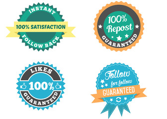 Social media badges set. 100% follow back guaranteed. Like, follow, repost social media interactions and communications badges.