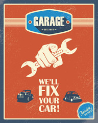 Classic garage poster. Vintage cars. Retro style design. Grunge