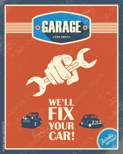 """Cars Collector Garages: """"Classic Garage Poster. Vintage Cars. Retro Style Design"""