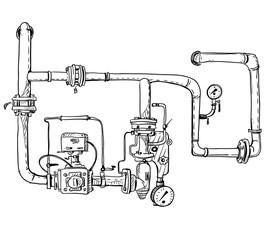 Boiler room. Pipes. Vector sketch.