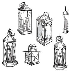 set of hand drawn lanterns. Vector sketch.