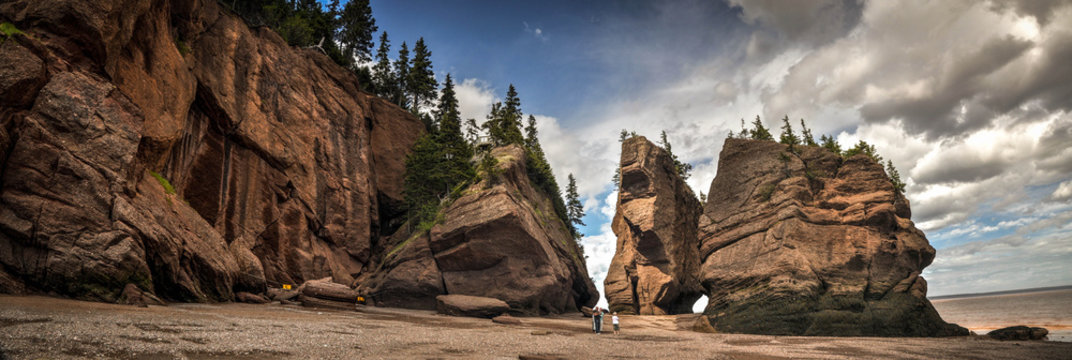 Hopewell Rocks Park during low tide in the Bay of Fundy in New Brunswick, Canada