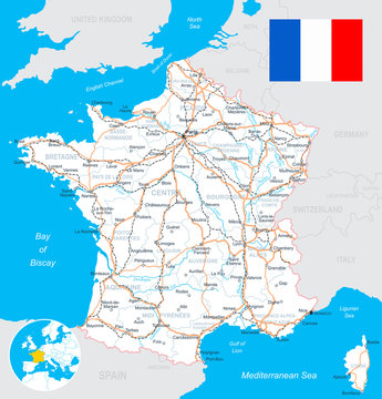 France map, flag, roads. Highly detailed vector illustration containing layers with land contours, country and land names, city names, water object names, flag, roads, railways.