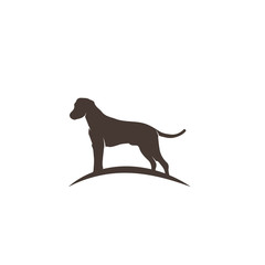 Stylized dog logo design. Artistic animal silhouette. Vector illustration.